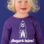 Camiseta personalizada dibujo cohete y texto ¡llegare lejos!